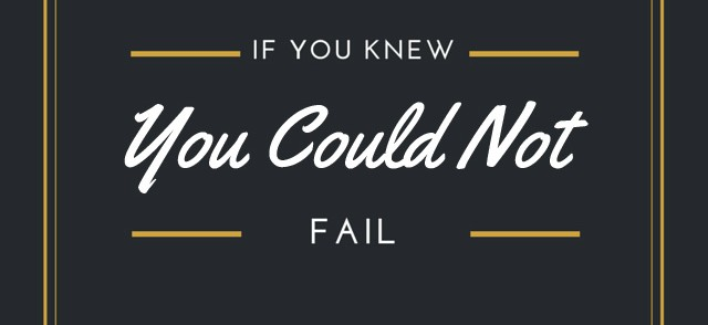 If you knew you could not fail…